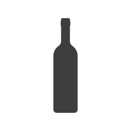 Wine bottle icon or sign. Black silhouette. Vector illustration. 向量圖像