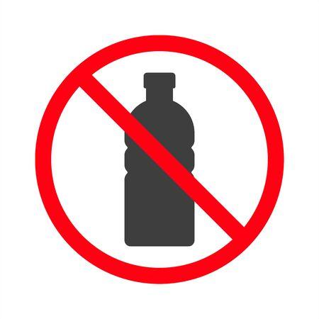 Ban water bottles on white background. EPS10