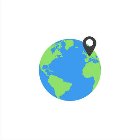 globe with location icon on a white background