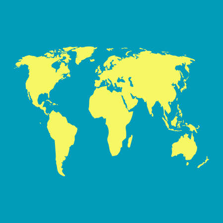world map yellow on blue background vector Ilustração Vetorial