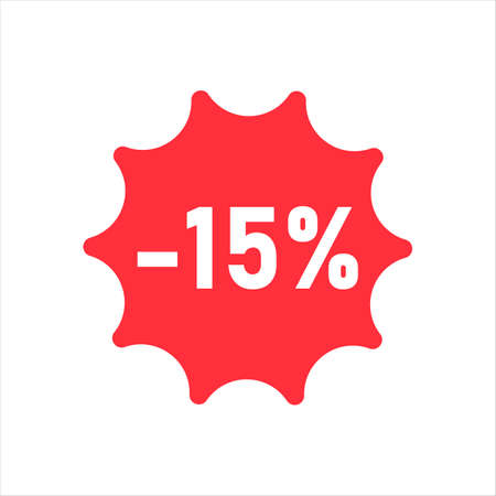 15 percent discount figures on white isolate.