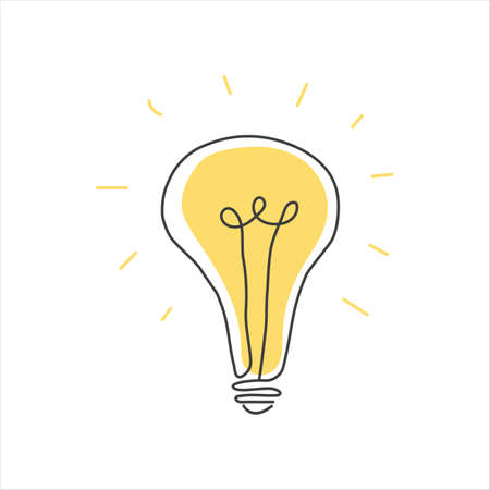 vector lamp bulb icon on white isolate