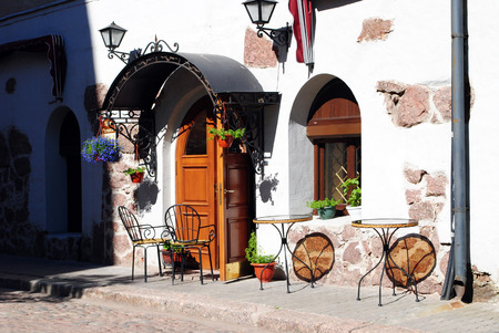 vyborg: Street cafe in the morning, Vyborg, Russia