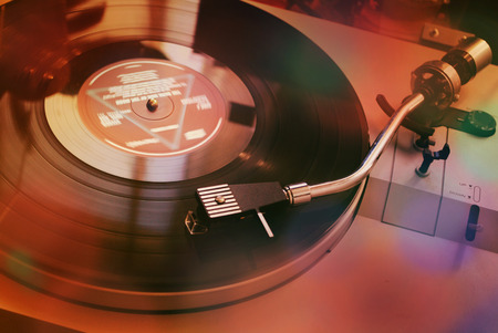 lps: Vintage turntable for vinyl LPs Stock Photo