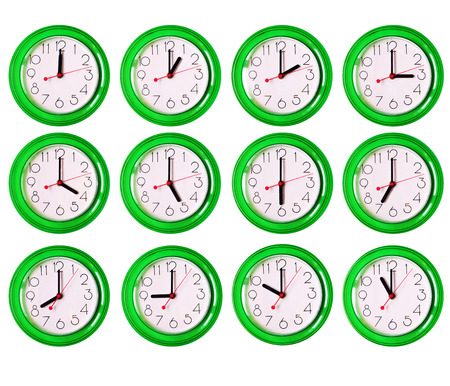 morning noon and night: 12 isolated green clock variants, each hour of the day Stock Photo