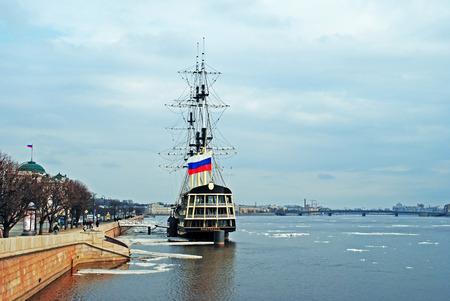 drifting ice: Drifting ice on the Neva river, Saint-Petersburg, Russia Stock Photo