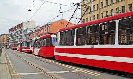 trams: Trams congestion in Ligovsky Prospect, Saint-Petersburg, Russia Editorial