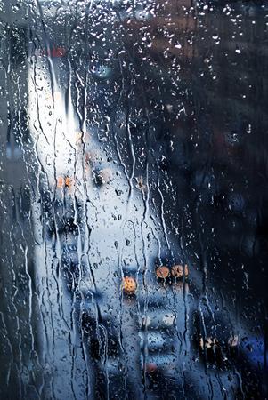 windowpane: Wet windowpane in rainy day