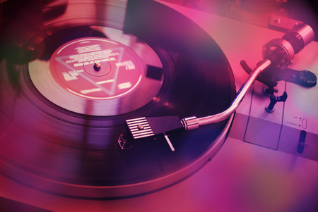 80th: Vintage turntable for vinyl LPs Stock Photo