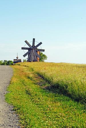 karelia: Windmill  and church, Kizhi, Karelia, Russia