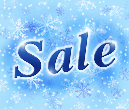 backing: winter sale background with snowflakes in light blue colors