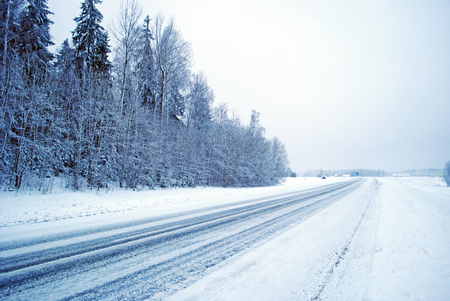 snowy winter road in the forest