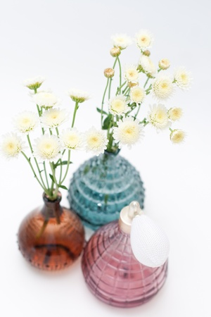 Bouquets of white flowers in colored vases photo