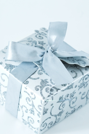 Silver gift box with ribbon photo