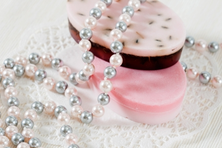 Handmade soap and pearl beads