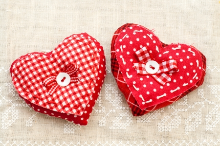 Handmade clothes hearts hanging on line Stock Photo - 17897747