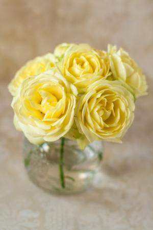 rosas amarillas: Ramo de rosas amarillas sobre un fondo de los puntos Foto de archivo