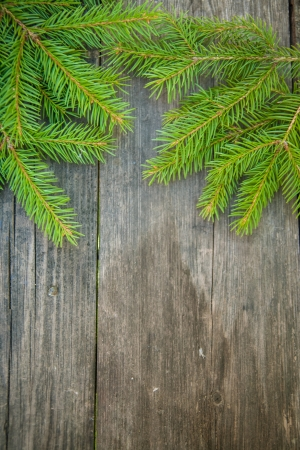 Holiday Decorations: Spruce branches on a wooden table Stock Photo