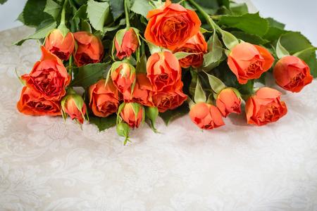 Bouquet of orange roses close-up photo