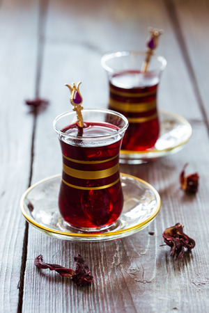 Turkish pomegranate tea in a traditional glasses