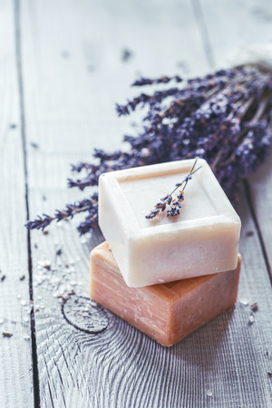 Homemade Soap with Lavender Flowers and Sea Salt Reklamní fotografie