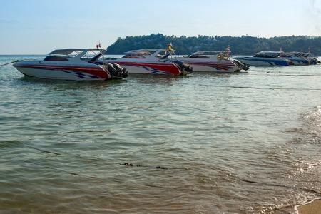 speedboat: Speedboat on the pier for traveling around the island