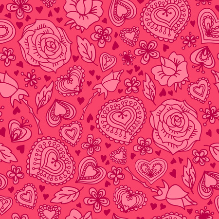 Doodle wallpaper with Valentine hearts Vector