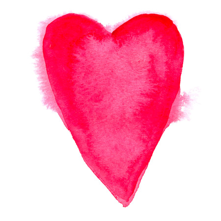 Watercolor painted red heart, vector file. Vector