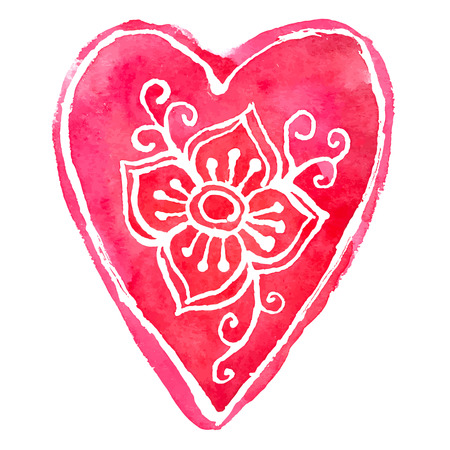 Watercolor painted red heart, vector file.