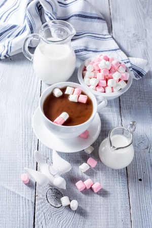 Hot chocolate with marshmallows and two milk jars photo