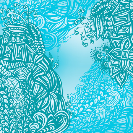 Vintage ornament background, drawing of technique zen tangle Vector