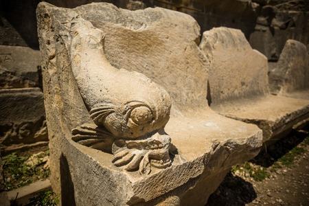 past civilization: Ancient lycian Myra amphitheater ruins at Turkey Demre