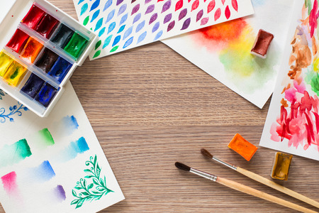 paint box: Watercolor paint box and brushes for painting