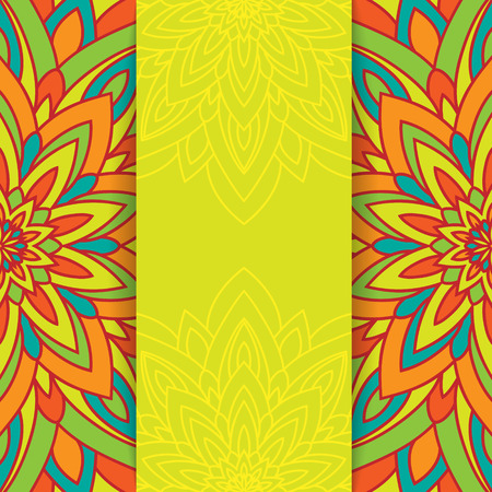 colorful flowers: Colorful flower background with space for your text in green, red and orange colors