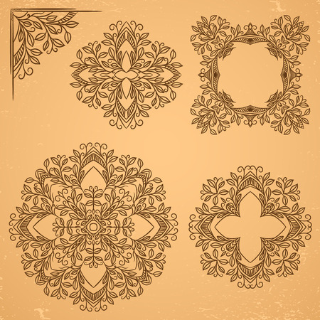 Set of decorative floral elements. Corner element and circle rosette. Vector