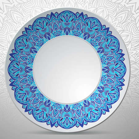 White vector plate with russian ornament in blue color Vector