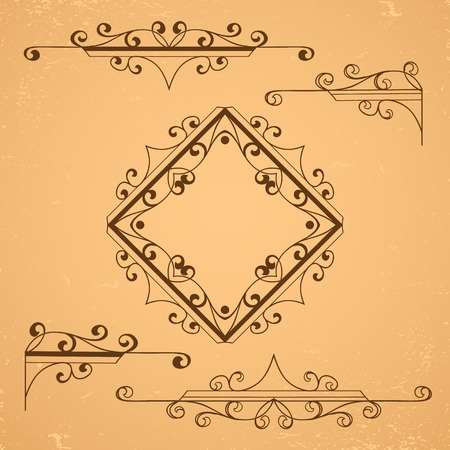 paper background: Set of decorative floral elements. Same frames and borders. Illustration