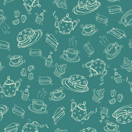Coffee and tea doodle seamless pattern. Endless Background. Ilustracja