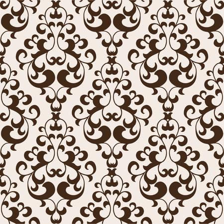seamless damask: Vector damask seamless vintage pattern in broun colors