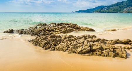 powe: Patong beach in Koh Phuket island Thailand. Panorama view Stock Photo