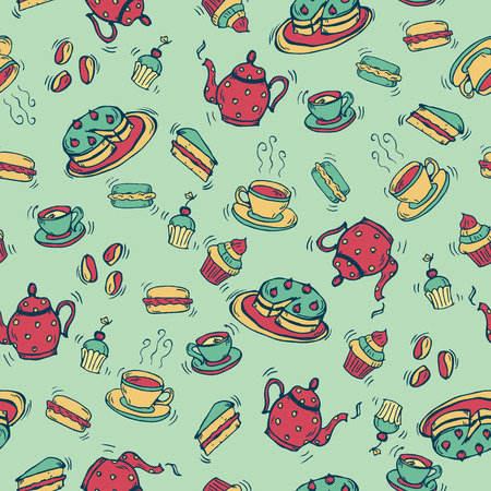 Coffee and tea doodle seamless pattern. Endless Background. Illustration