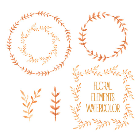 Set of Colorful floral elements with leaves, drawing watercolor.