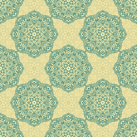 soft colors: Abstract vector circle floral seamless pattern in soft colors
