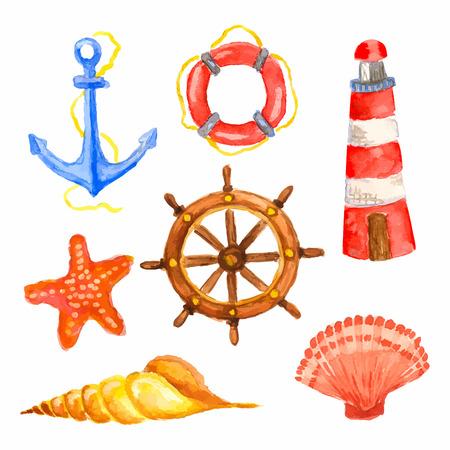 Set of watercolor vector elements - anchor, lighthouse, steering wheel, lifebuoy, seashells and starfish. Vector