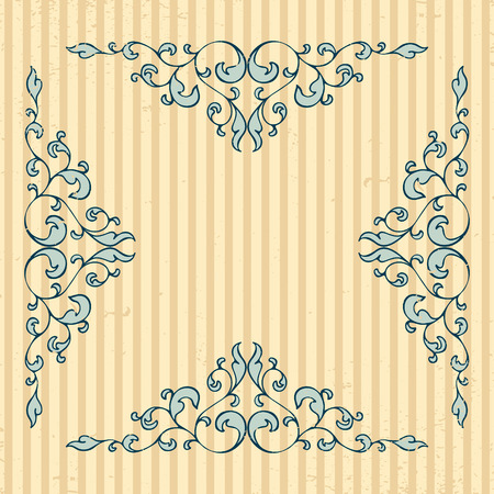 Vintage pattern with decorative floral elements in soft retro colors.