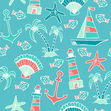 Summer traveling seamless pattern with hand drawn seashells, starfish, lighthouse, boat, palm trees and fish Illustration