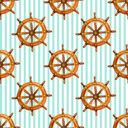 Vector nautical vintage saemless pattern with watercolor steering wheel Illustration