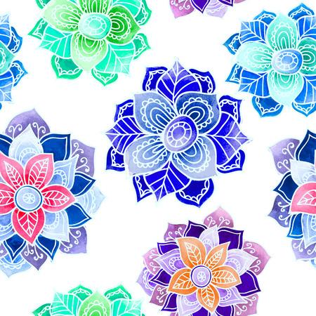 mandalas: Seamless pattern with Watercolor Mandalas. vector background.