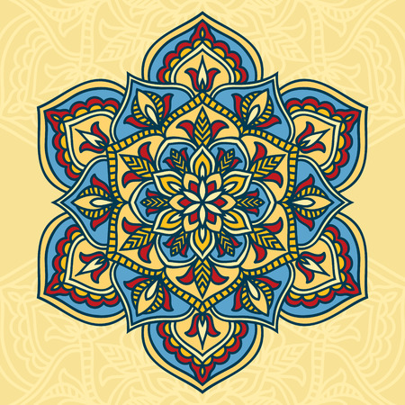 Colorful circle flower mandala in blue, red and orange colors