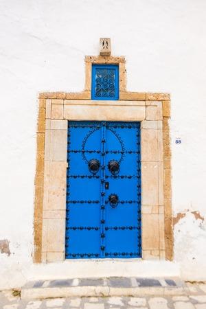 sidi bou said: Sidi Bou Said  Beautiful ornamental blue door of so typical shape for Tunisia